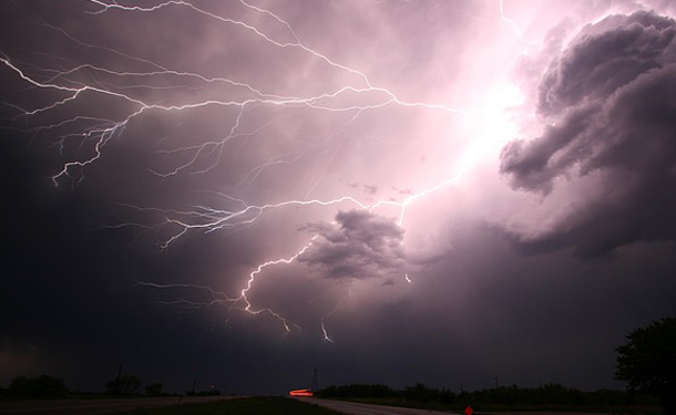 Lightning strike in clouds during severe weather